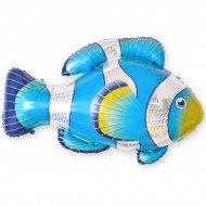 Шар (35''/89 см) Фигура, Рыба-клоун, Голубой, 1 шт.